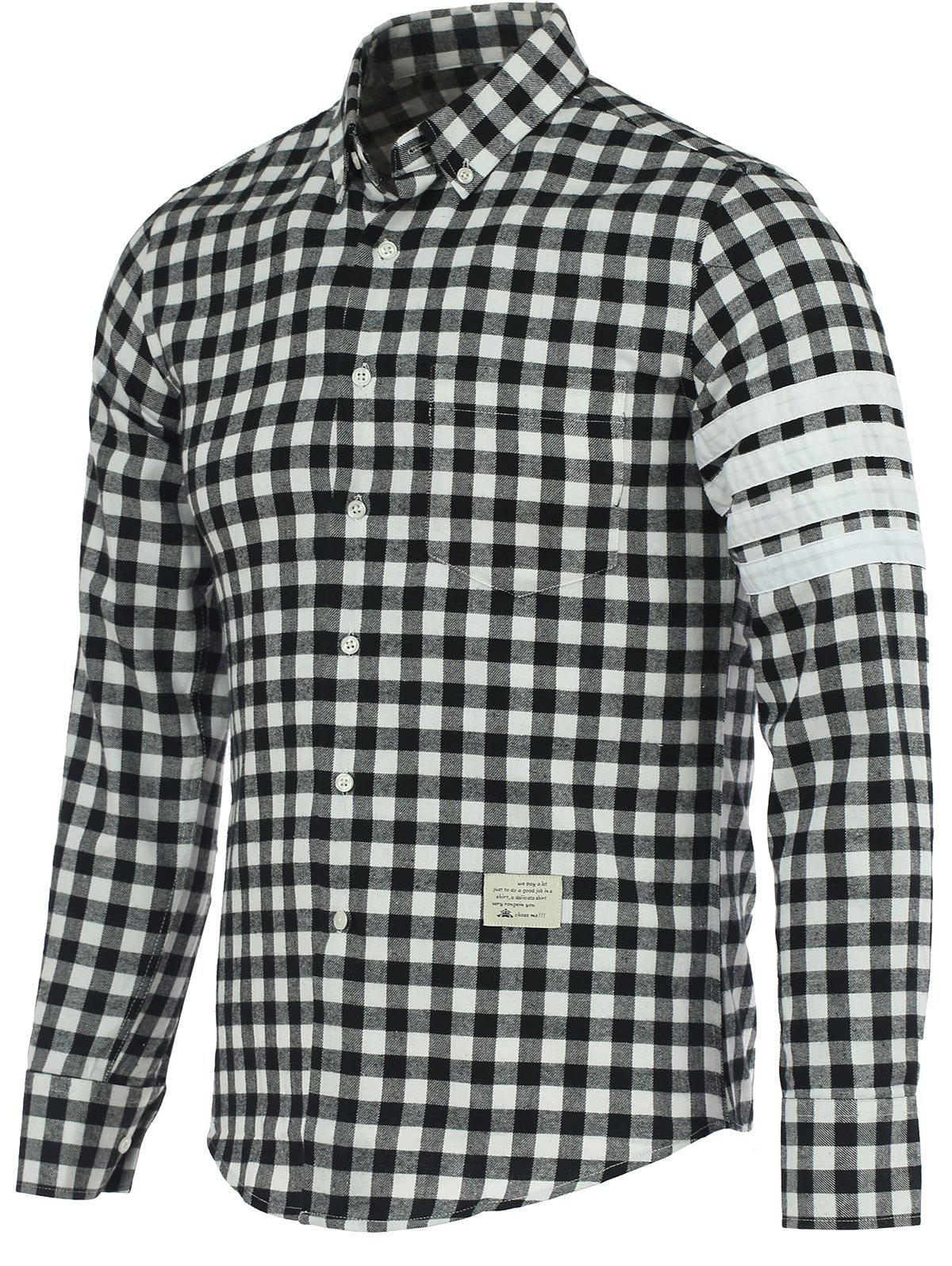 Small Grid Turn-Down Collar Long Sleeve Shirt - BLACK/GREY 3XL