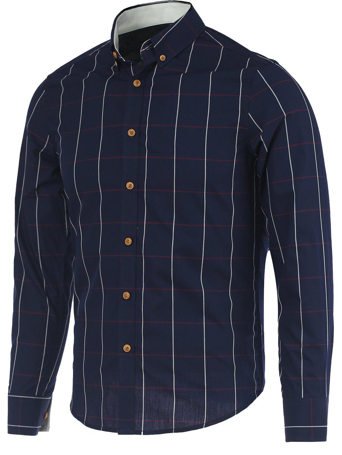 Button-Down Plaid Turn-Down Collar Long Sleeve Shirt - DEEP BLUE M