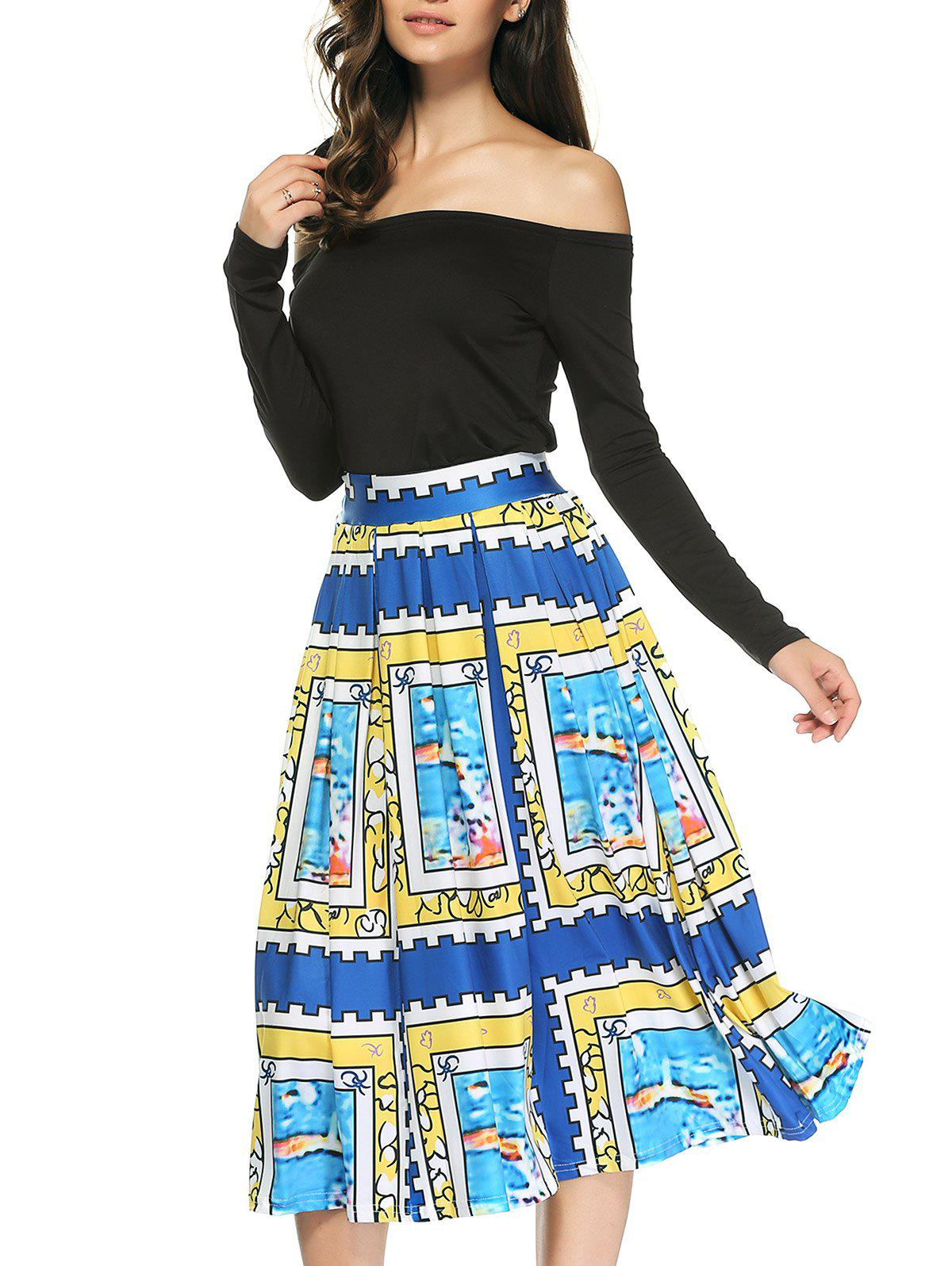 Chic Off The Shoulder T-Shirt and Print Pleated Skirt Twinset For Women