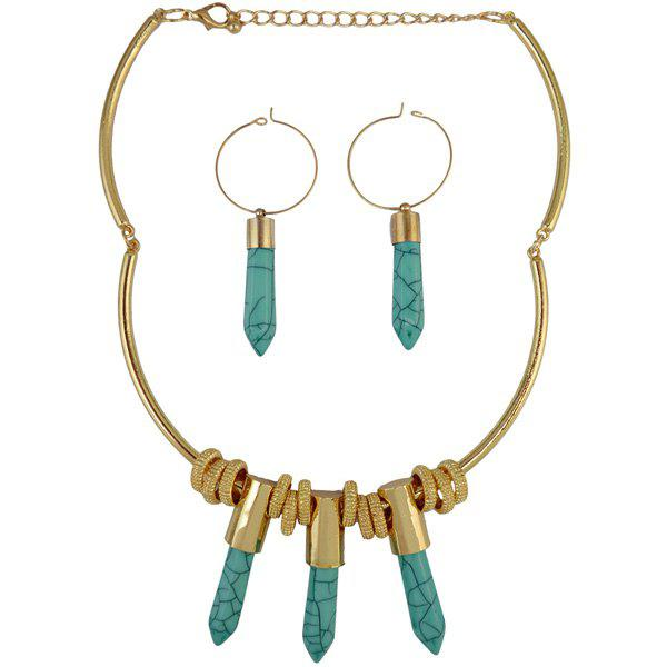Pencil Shape Artificial Crystal Necklace and Earrings - GREEN