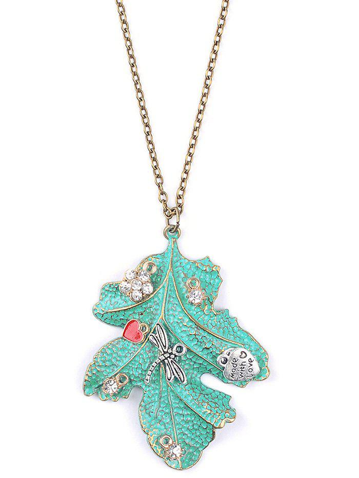 Vintage Rhinestone Dragonfly Leaf Sweater Chain