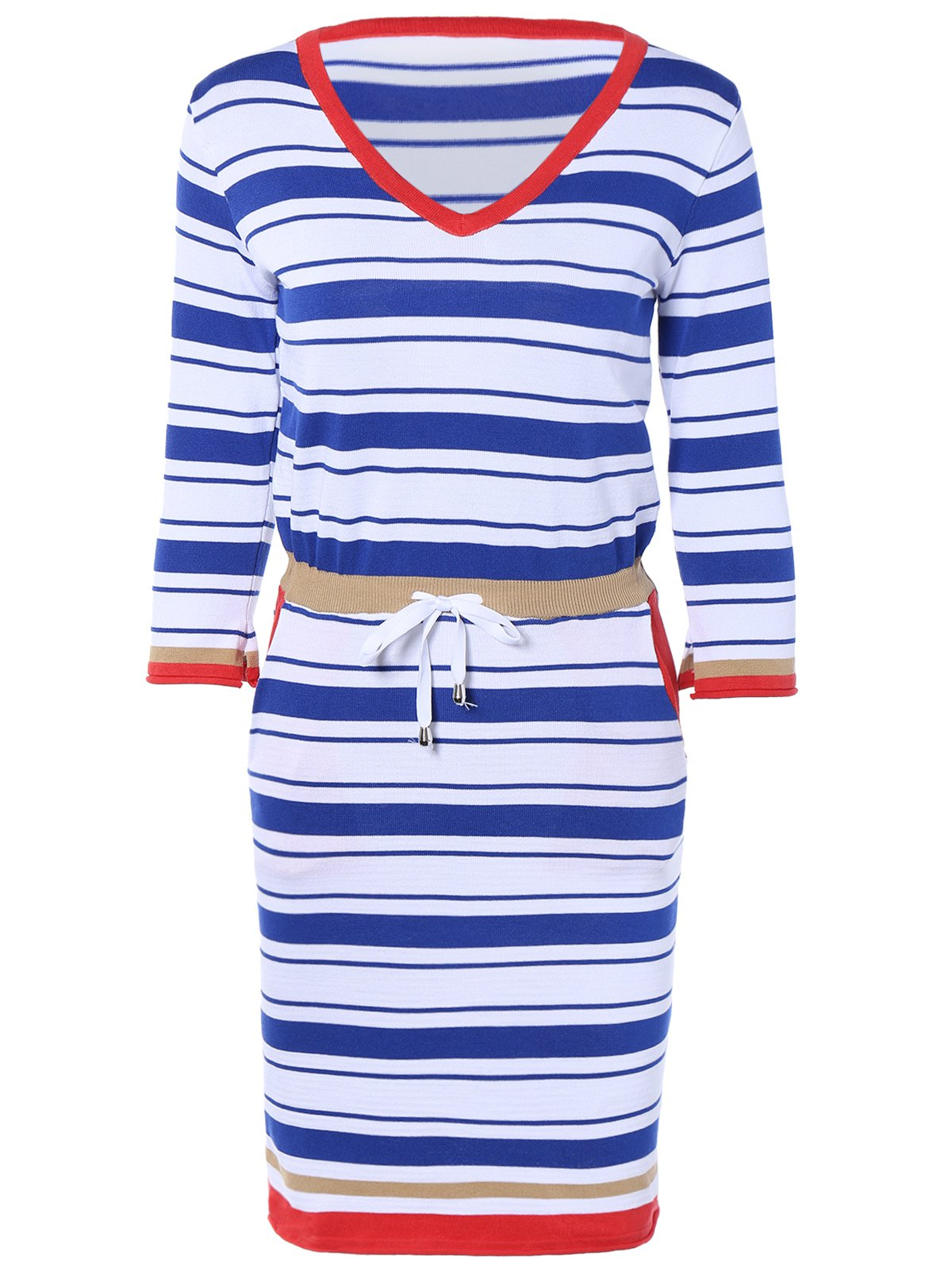 Refreshing Striped Lace Up Dress - BLUE ONE SIZE