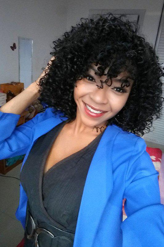 Stylish Medium Afro Curly Side Bang Synthetic Hair Wig For Women
