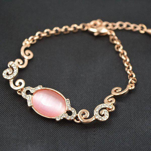 Chic Cut Out Oval Faux Gem Gold Plated Rhinestone Spiral Bracelet For Women