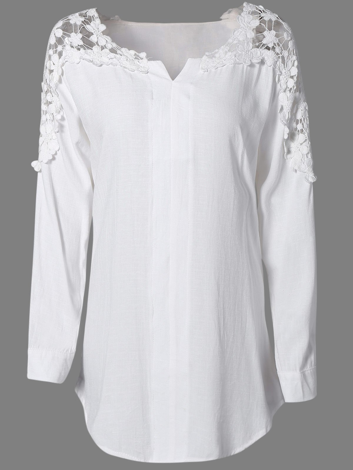 Oversized Fashion Solid Color Lace Hollow Out  Blouse