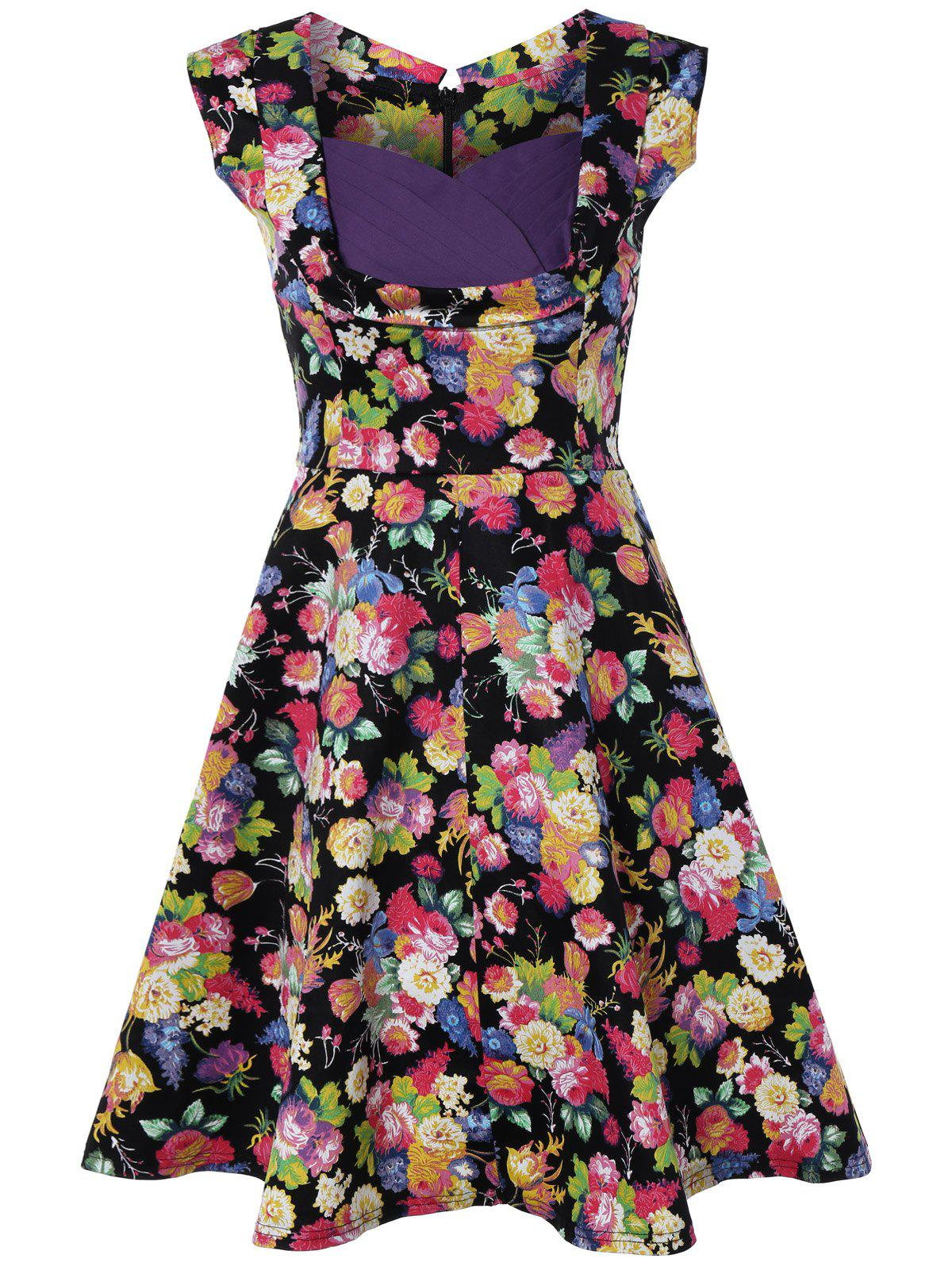 Retro Style High-Waisted Floral Print Dress - BLACK 2XL
