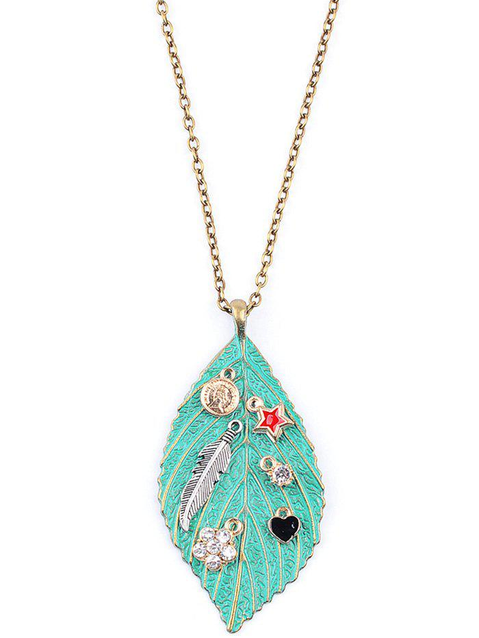 Chic Feather Pentagram Leaf Sweater Chain - GREEN