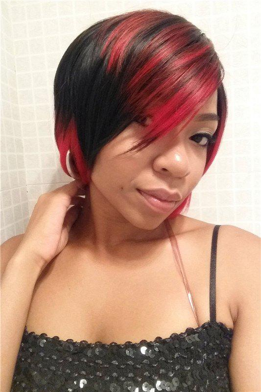 Fluffy Straight Black Red Mixed Stylish Side Bang Synthetic Short Wig For Women