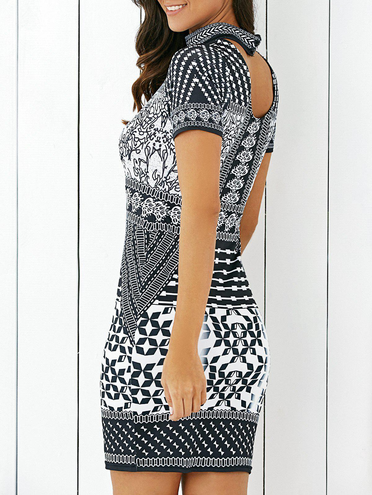 Ethnic Tribal Print Hollow Out Dress For Women - WHITE/BLACK XL