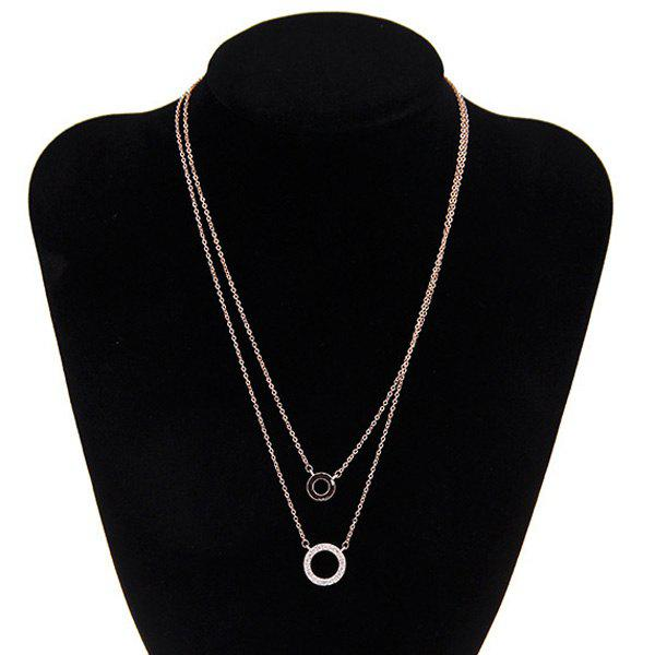 Trendy Double-layered Rhinestone Circle Love Necklace For Women - GOLDEN
