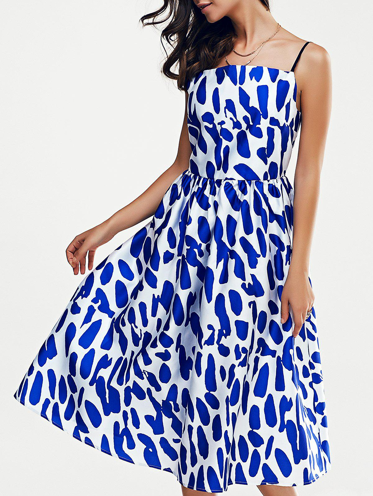 Fashionable Loose-Fitting Spaghetti Strap Dress With Printing For Women - BLUE/WHITE L