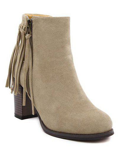 Trendy Fringe and Side Zip Design Women's Ankle Boots - KHAKI 37