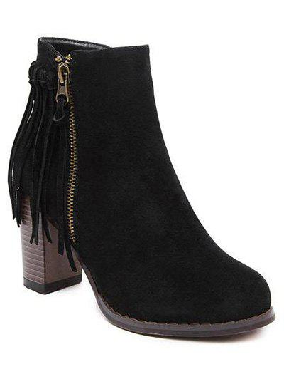 Trendy Fringe and Side Zip Design Women's Ankle Boots - BLACK 38