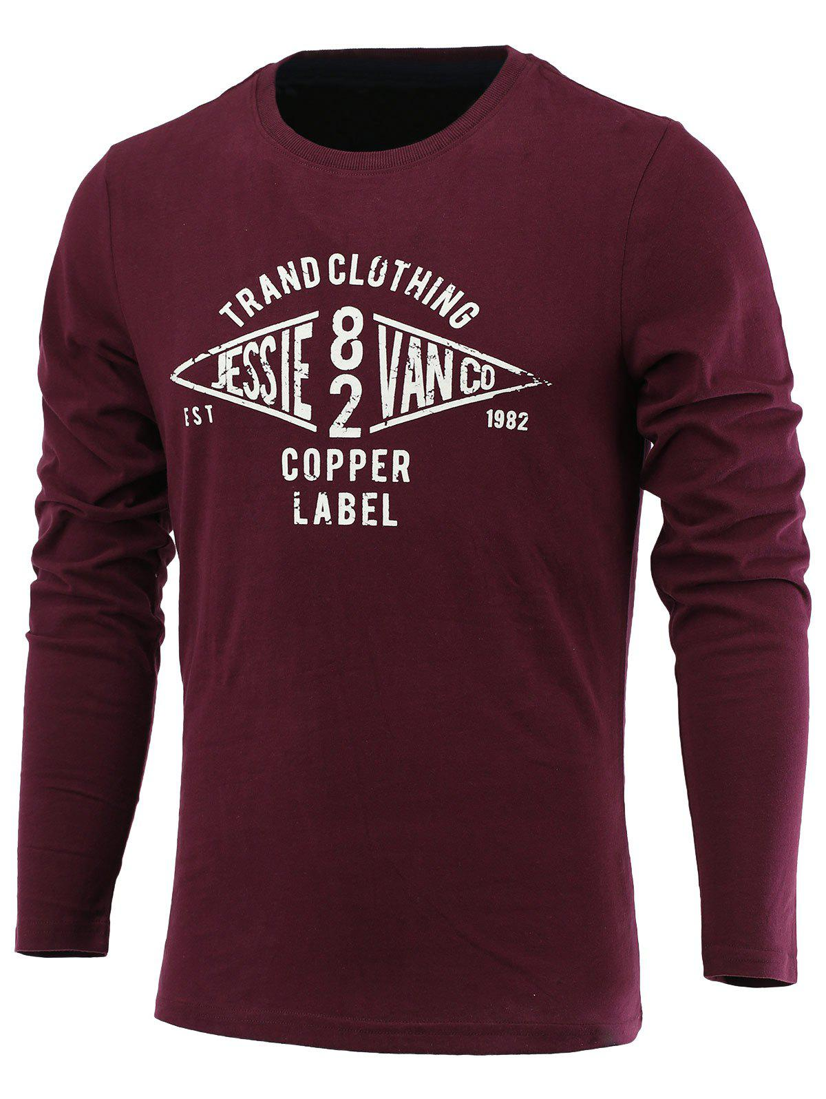 Letter Geometric Print Long Sleeve Round Neck T-Shirt - WINE RED 2XL