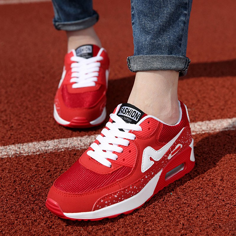 Trendy Breathable and Tie Up Design Women's Athletic Shoes - RED 39