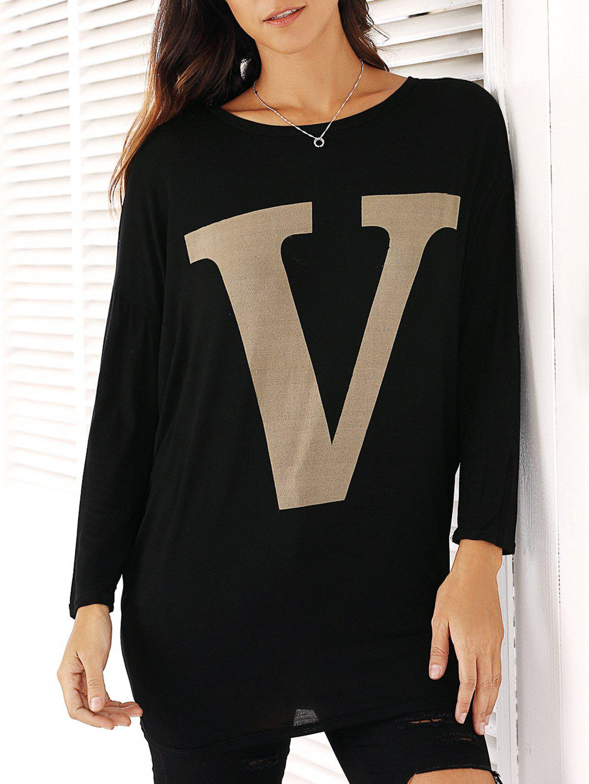 Casual Long Sleeve Letter Top For Women - BLACK ONE SIZE