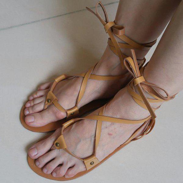 Leisure Cross Straps and PU Leather Design Women's Flat Sandals - BROWN 39