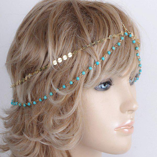 Charming Multilayer Beaded Sequin Hair Accessory For Women - BLUE/GOLDEN
