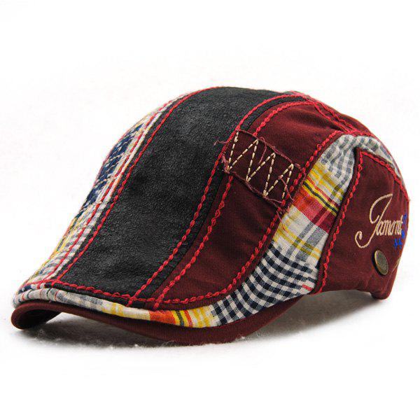Retro Patchwork Pattern Embroidery Outdoor Sunscreen Men's Cabbie Hat - WINE RED