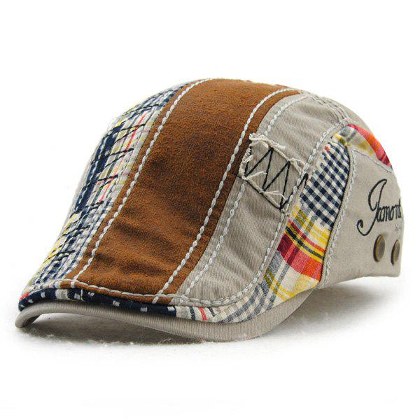 Retro Pattern Patchwork broderie Outdoor Sunscreen Men 's Cabbie Hat - Gris