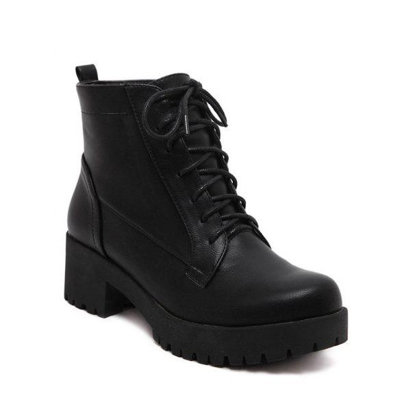 Trendy Black and Chunky Heel Design Women's Short Boots