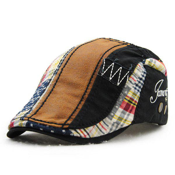 Retro Patchwork Pattern Embroidery Outdoor Sunscreen Men's Cabbie Hat - BLACK