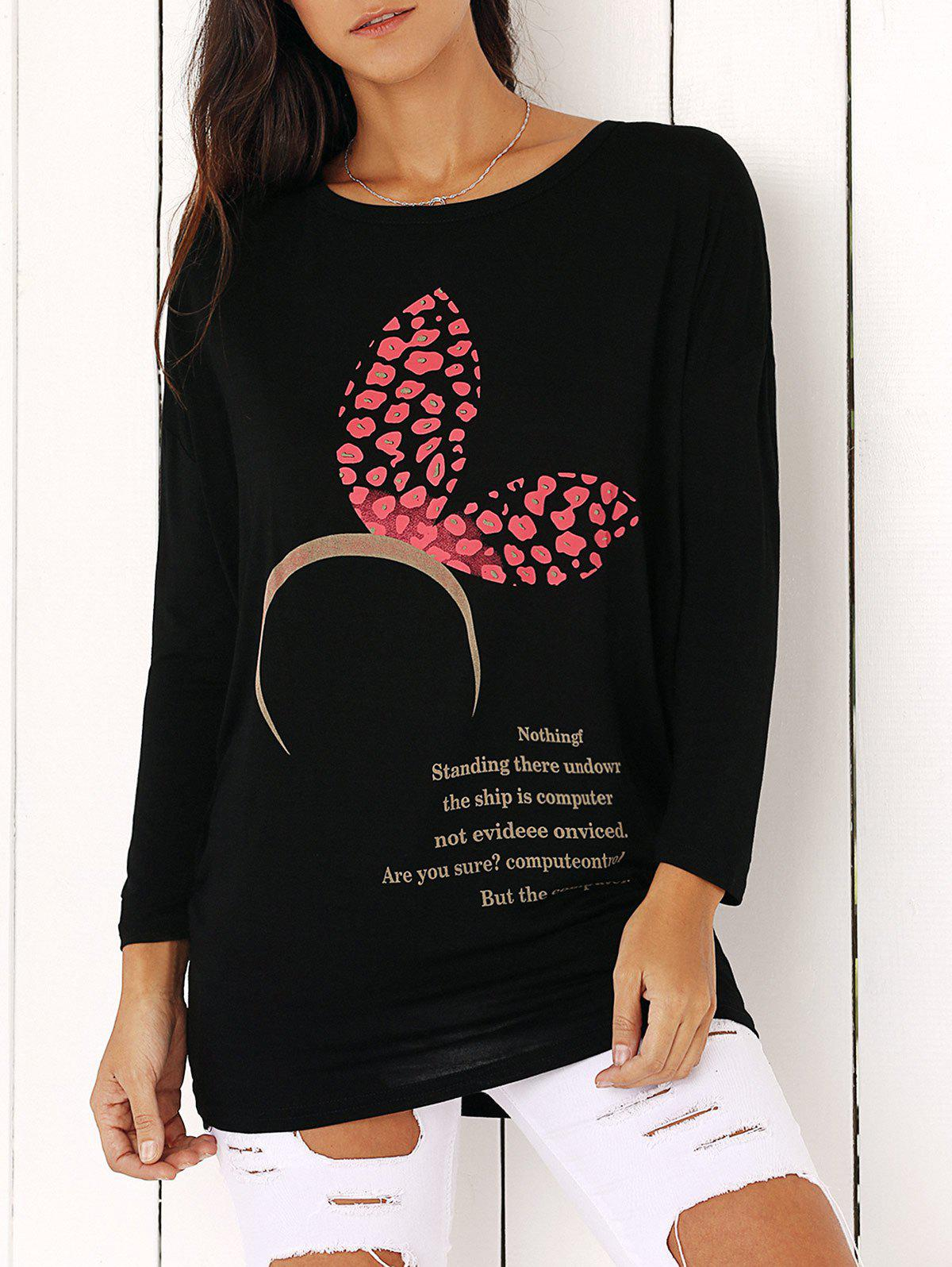 Cute Printed Loose Fitting Top For Women - BLACK ONE SIZE