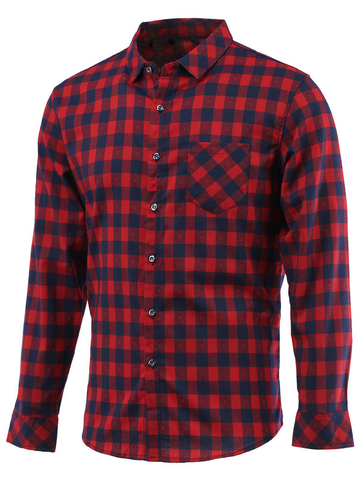 Embroidery Checked Turn-Down Collar Long Sleeve Shirt - RED 3XL