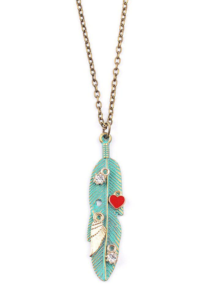 Graceful Wing Leaf Heart Sweater Chain - GREEN