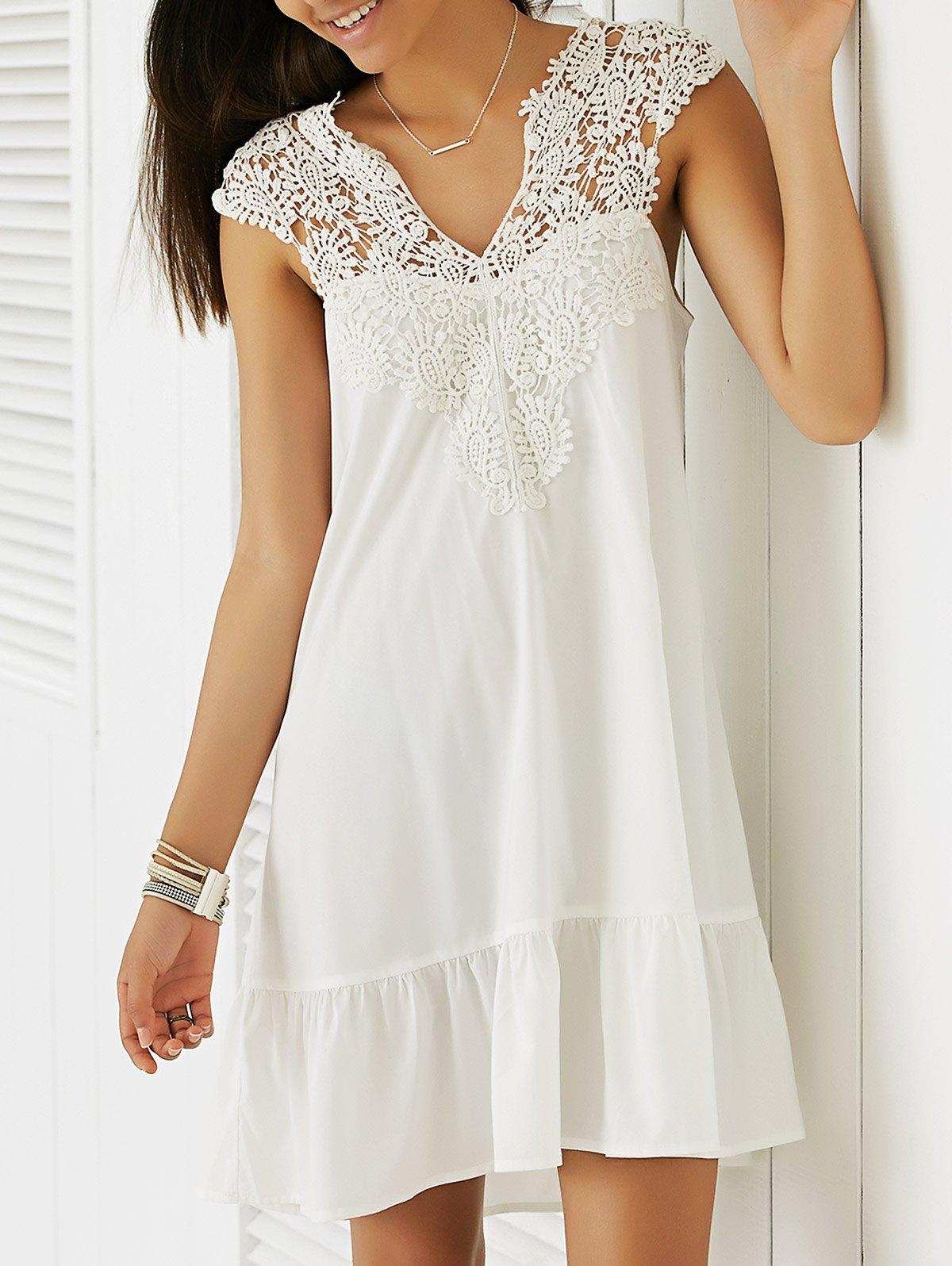 Casual Women's Sleeveless Cut-Out Lace Splicing Flounce Dress - WHITE XL
