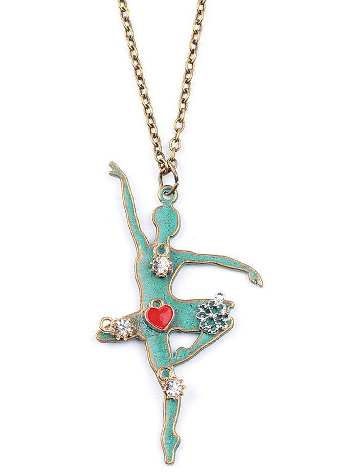 Gorgeous Rhinestone Fairy Heart Sweater Chain - GREEN