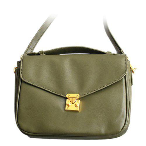 Retro Hasp and Stitching Design Women's Crossbody Bag - GREEN