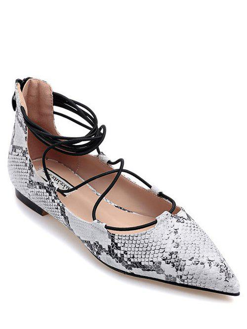Trendy Snake Print and Criss-Cross Design Women's Flat Shoes - WHITE 39