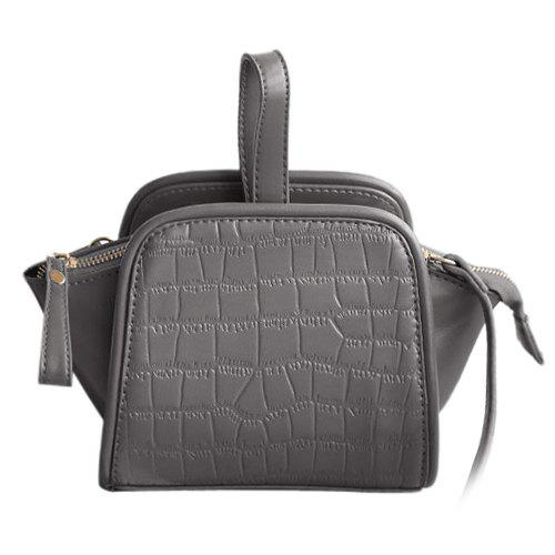 Trendy Crocodile Embossed and Solid Color Design Women's Tote Bag - GRAY