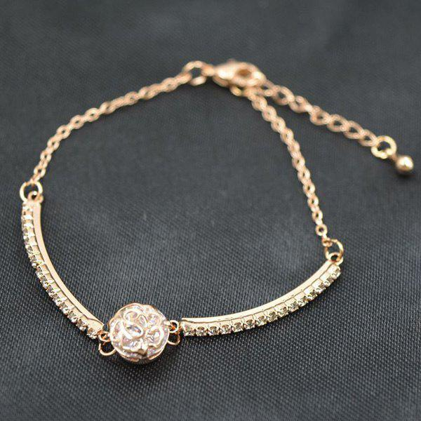 Trendy Gold Plated Rhinestone Floral Carved Ball Charm Bracelet For Women