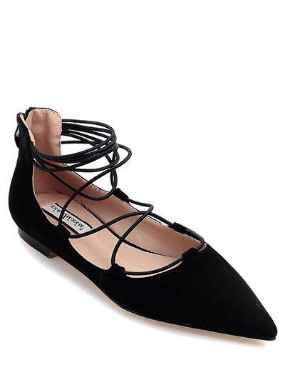 Stylish Black and Criss-Cross Design Women's Flat Shoes - BLACK 39