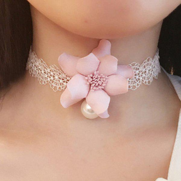 Delicate Lace Flower Embellished Choker Necklace For Women - WHITE
