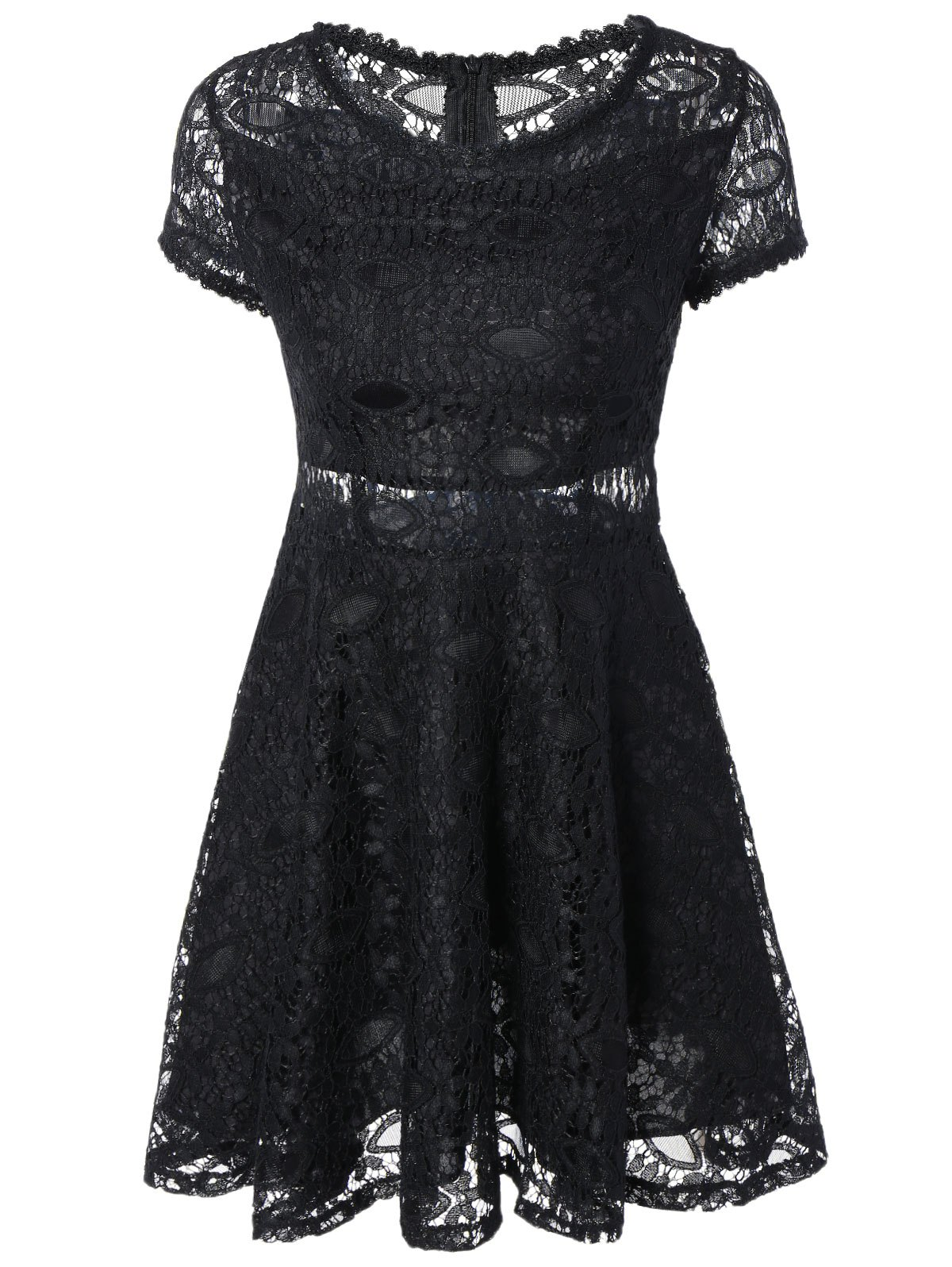 Alluring See-Through Lace Dress - BLACK XL