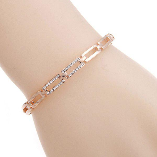Rectangle Cut Out Rhinestone Bracelet - ROSE GOLD