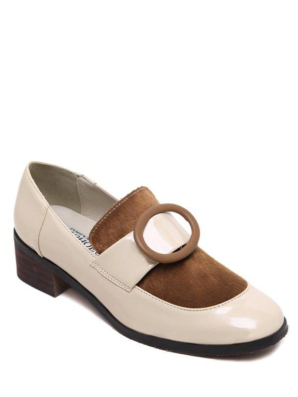Preppy Splice and Round Buckle Design Women's Pumps - APRICOT 39