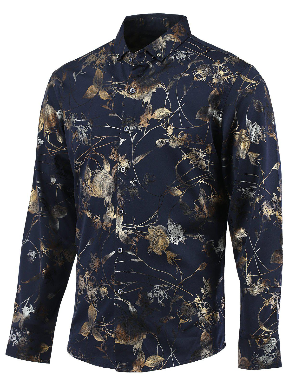 Golden Floral Print Turn-Down Collar Button-Down Long Sleeve Shirt - CADETBLUE 3XL