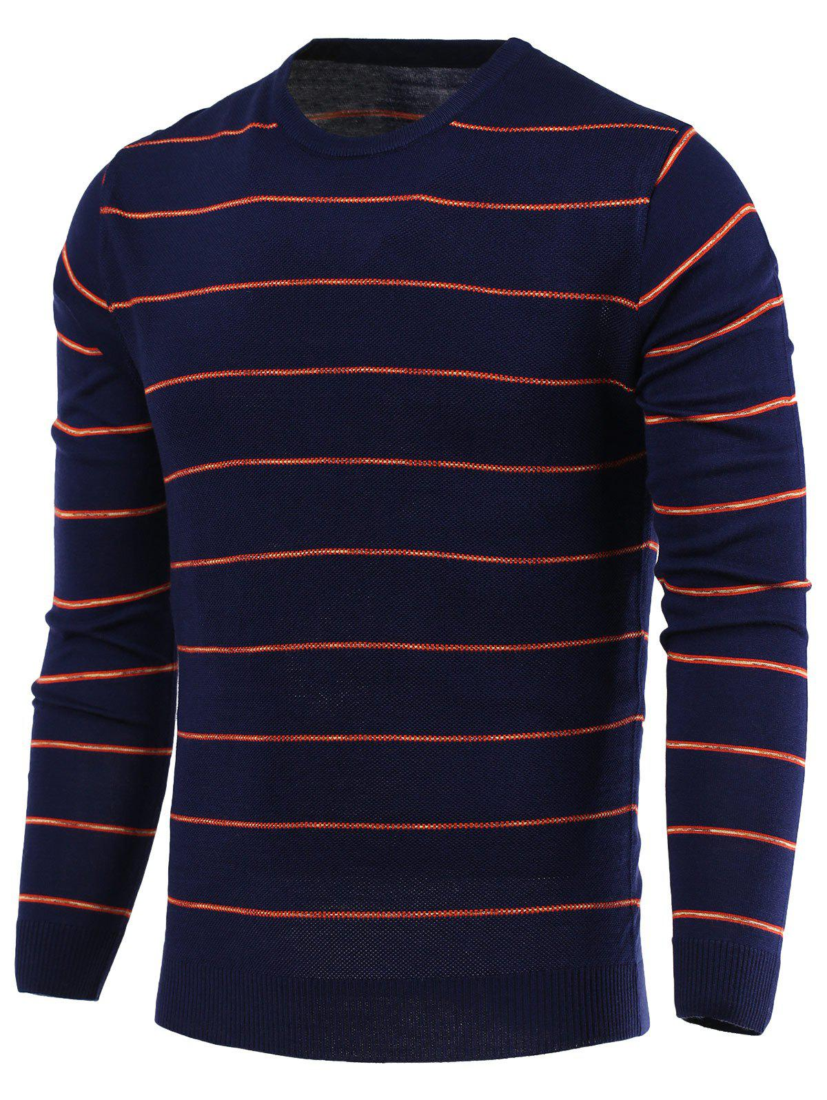 Stripe Round Neck Long Sleeve Sweater