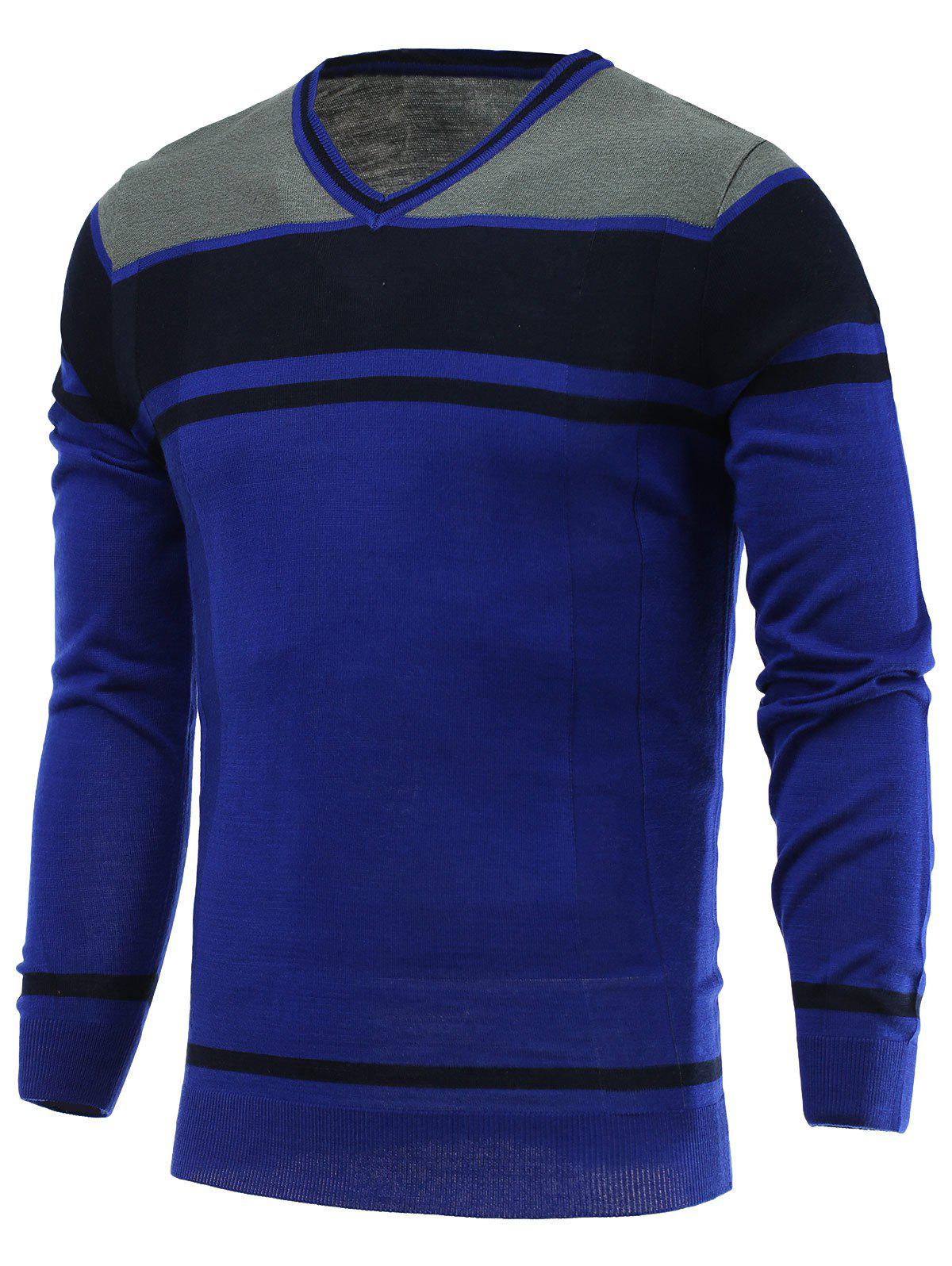 Color Block Splicing V-Neck Long Sleeve Sweater