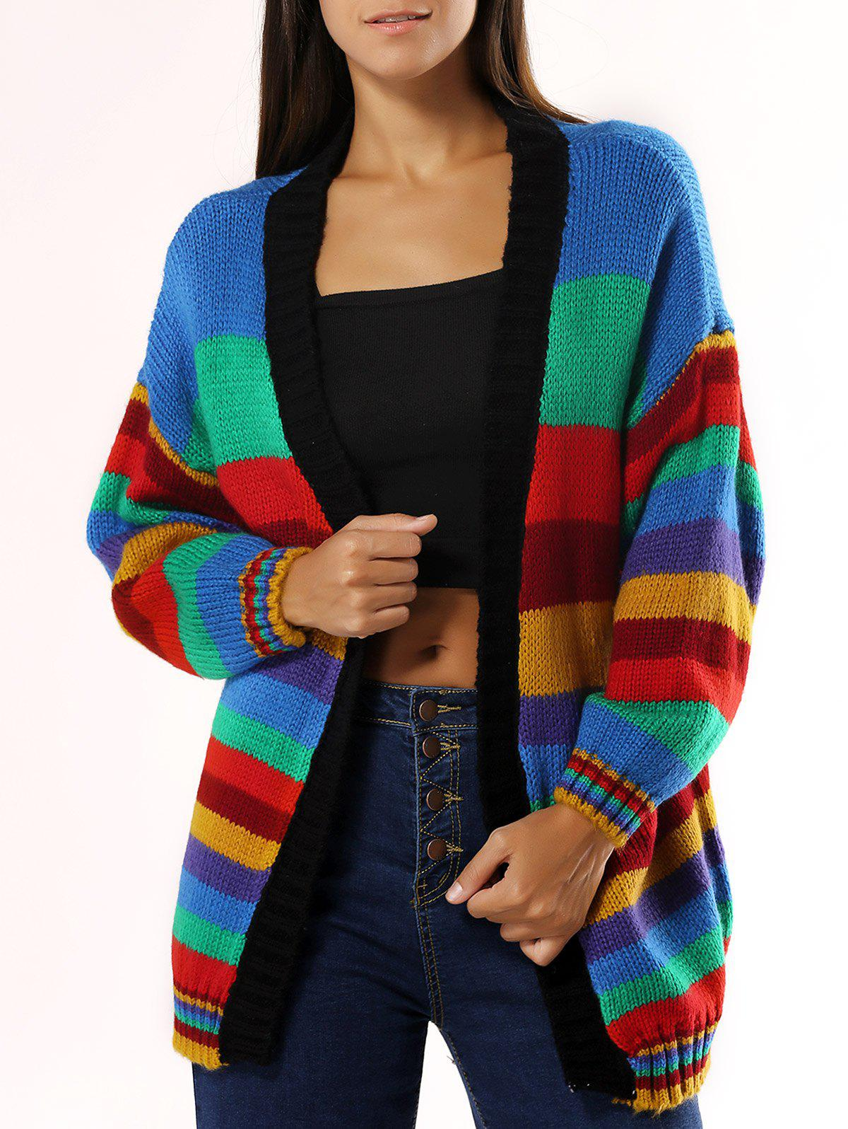 Colorized Striped Loose Cardigan For Women - COLORMIX ONE SIZE