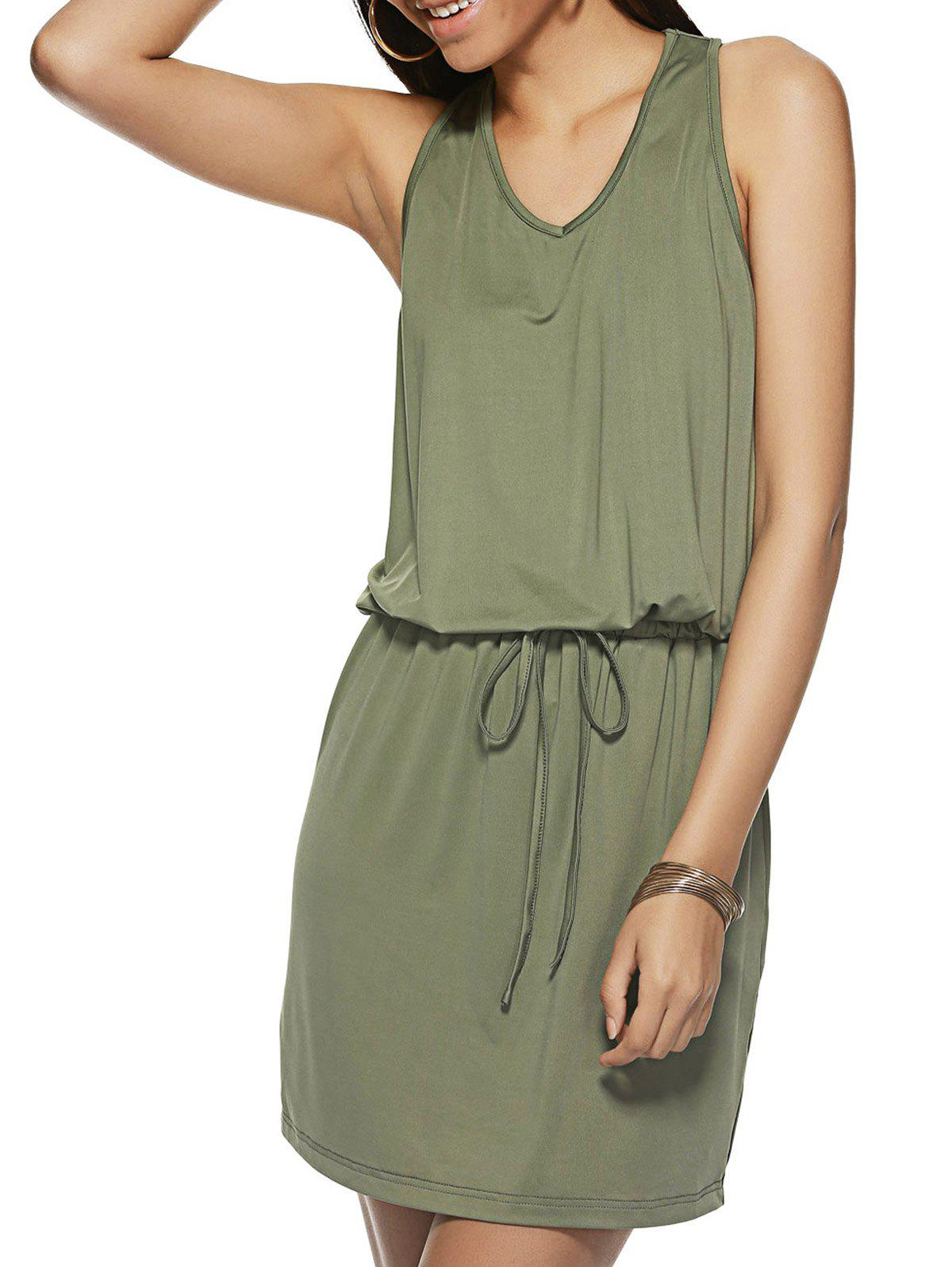 Lace-Up Pure Color Sleeveless Dress - ARMY GREEN L