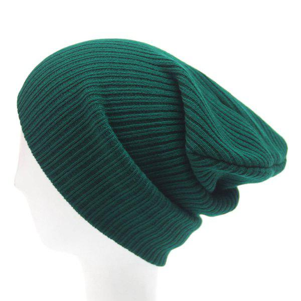 Stylish Hot Sale Simple Winter Outdoor Warm Knitted Beanie - BLACKISH GREEN