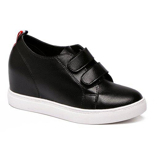 Stylish PU Leather and Striped Design Women's Wedge Shoes - BLACK 39