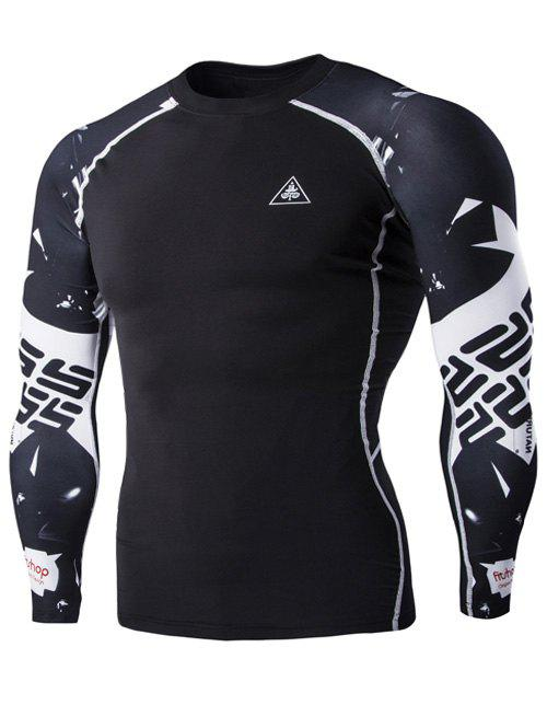 Special Letters Pattern Long Sleeves Men's Compression T-Shirt - BLACK 2XL