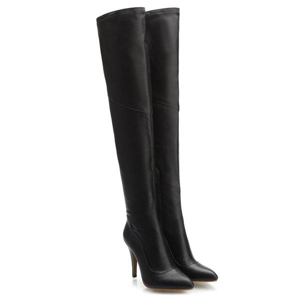 Stylish Pointed Toe and Stiletto Heel Design Women's Thigh Boots - BLACK 39