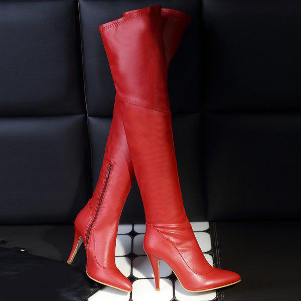 Stylish Pointed Toe and Stiletto Heel Design Women's Thigh Boots - RED 39